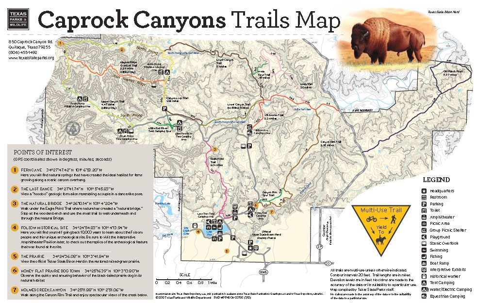 Caprock Canyon State Park Map Caprock Canyons State Park   TrailMeister