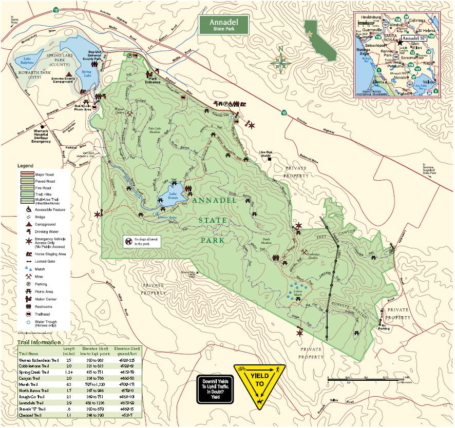 Annadel State Park Map Annadel State Park   TrailMeister Annadel State Park Map