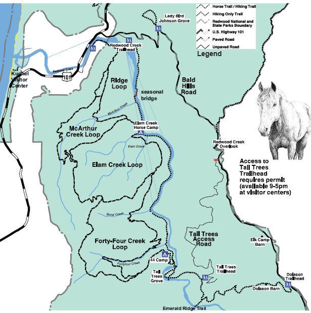Orick California Map.Orick Creek Trailhead Redwood National Park Trailmeister