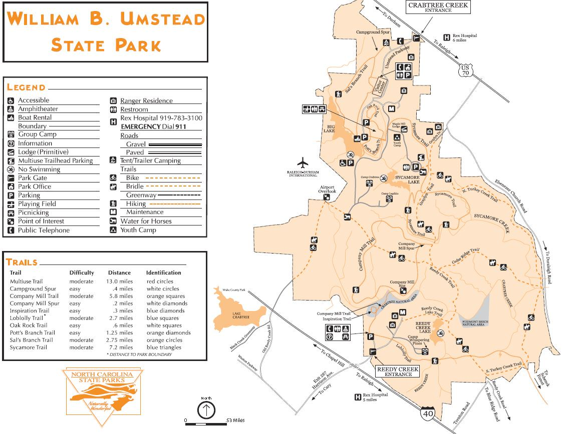 Umstead Park Map William B. Umstead State Park   TrailMeister