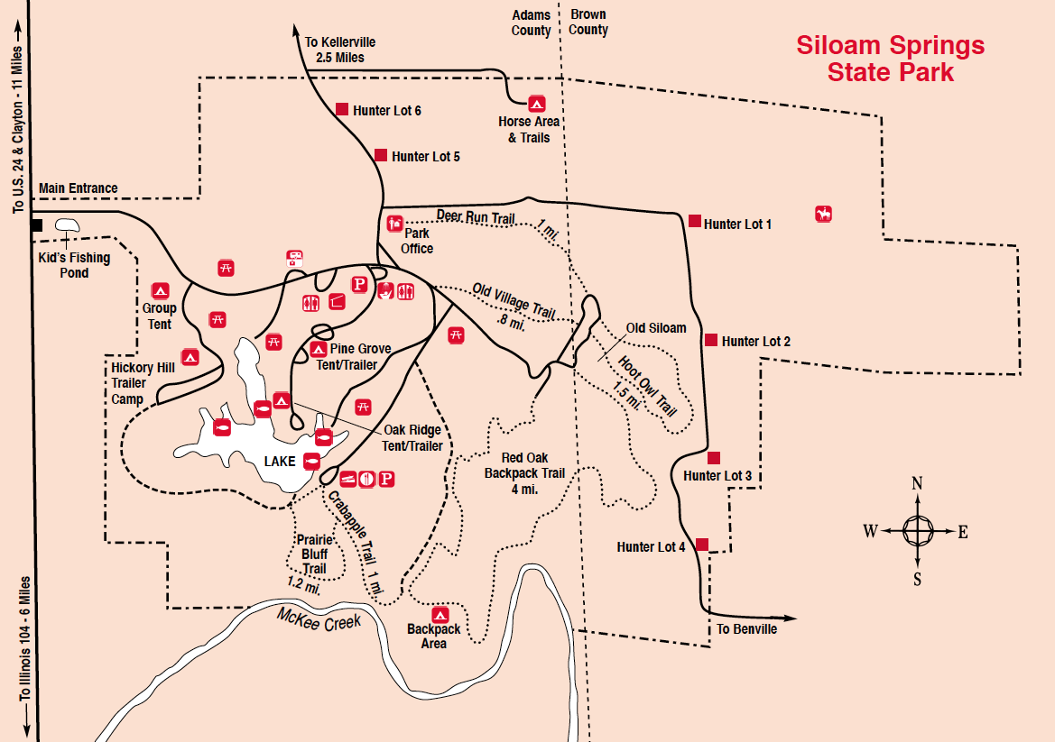 State Parks Illinois Map.Siloam Springs State Park Trailmeister