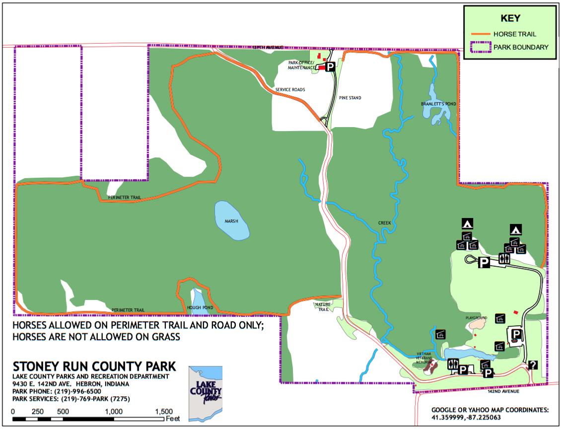 Hebron Indiana Map.Stoney Run County Park Trailmeister